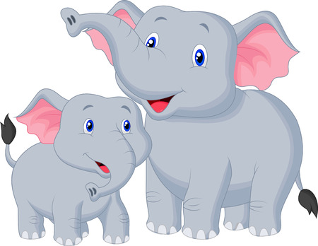 woods: Mother and baby elephant cartoon