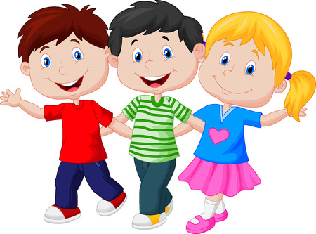 three persons: Happy young children cartoon