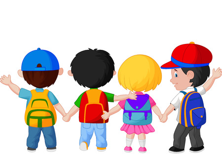 Happy young children cartoon walking together