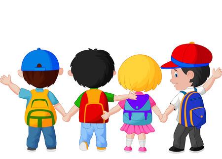 walking on hands: Happy young children cartoon walking together