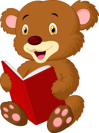 Cute bear cartoon reading