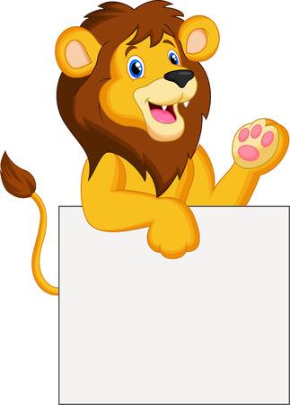 Bande dessinée heureuse de lion tenant signe blanc Vecteurs