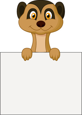 meerkat: Cute meerkat cartoon holding blank sign