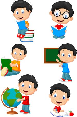 junge: Glückliche Schulkinder Karikatursammlung Satz Illustration