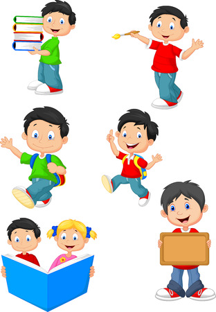 schoolchild: Gelukkig schoolkinderen cartoon collectie set