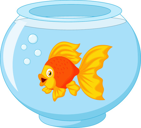 Gold fish cartoon in aquarium  Vector