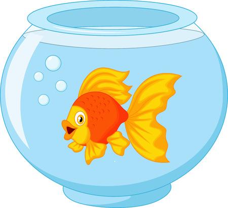 gold fish bowl: Gold fish cartoon in aquarium