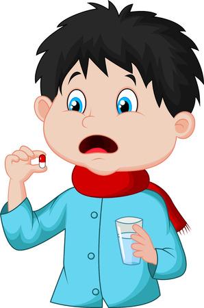 cough medicine: Sicked boy cartoon swallows pill  Illustration