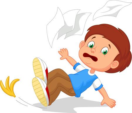 Cartoon boy fall down