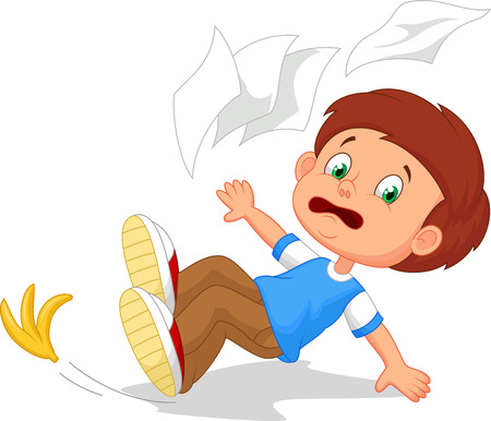Cartoon boy fall down
