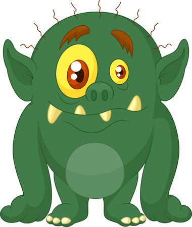Green monster cartoon  Vector