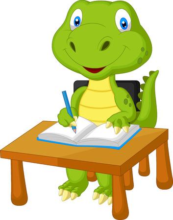 Cute dinosaur cartoon studying  Vector