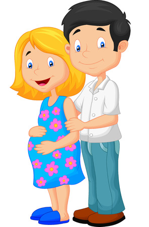 Young couple cartoon expecting a baby