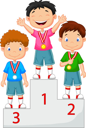 Little boy cartoon celebrates his golden medal on podium