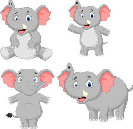 Elephant cartoon collection set  Vector