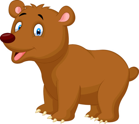 Cute brown bear cartoon  Vector