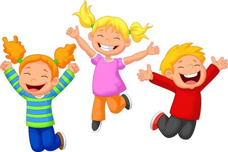 jumps: Happy kid cartoon  Illustration