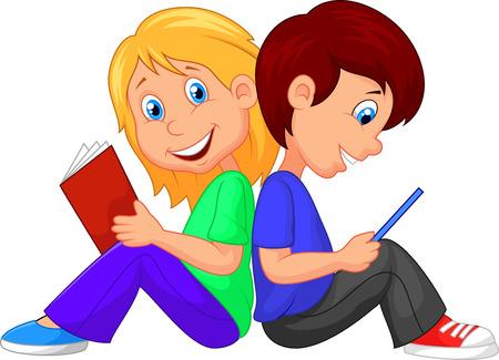 Chico de dibujos animados y el libro de lectura de la muchacha