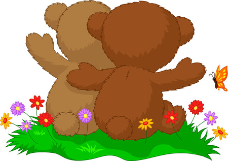 Back view of two teddy bears cartoon sitting in the garden with love Vector