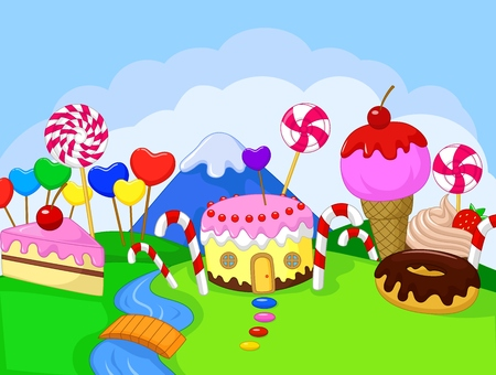 Happy children cartoon in the fantasy sweet land