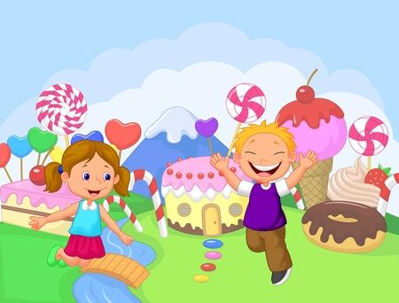 Bonne dessin animé pour les enfants dans le fantasme douce terre