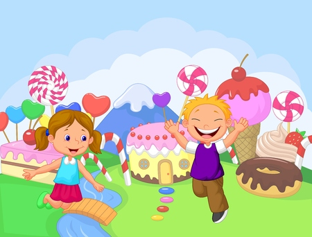 candy cane background: Happy children cartoon in the fantasy sweet land