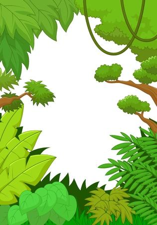 jungle green: Selva tropical fondo de dibujos animados Vectores