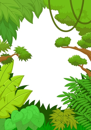 rain forest animal: Tropical jungle cartoon background