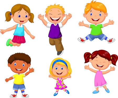 casual business team: Happy kids cartoon