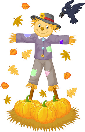 crow: Scarecrow cartoon  Illustration