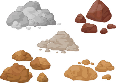 boulders: Stone and rock cartoon collection