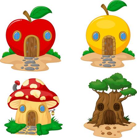 manzana caricatura: Colecci�n de dibujos animados Fantas�a casa