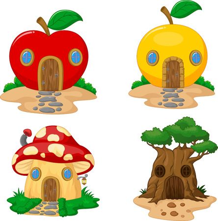 fairy toadstool: Fantasy house cartoon collection