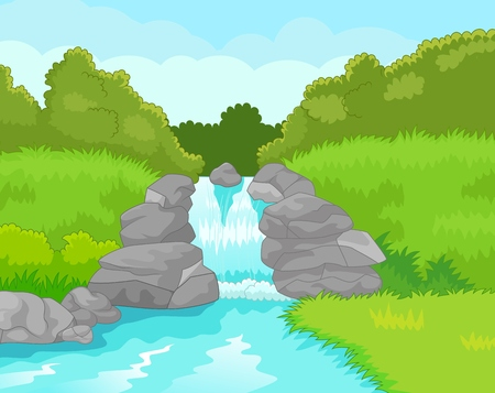 river rock: Beautiful waterfall cartoon Illustration