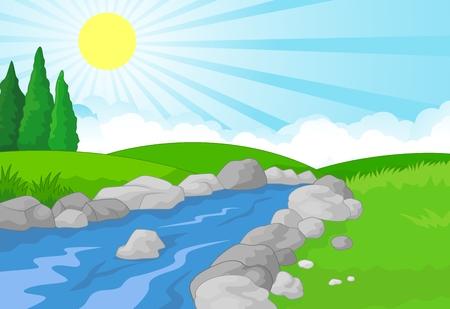paisaje naturaleza: Naturaleza paisaje de dibujos animados Vectores