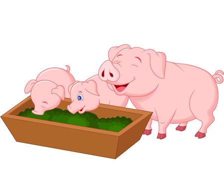 pet breeding: Happy farm pig family cartoon Illustration