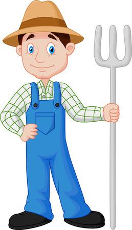 農夫の漫画  イラスト・ベクター素材