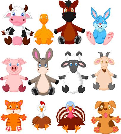 Collezione di cartoni animati animali da fattoria Vettoriali