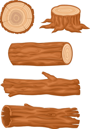 Wooden cartoon log collection