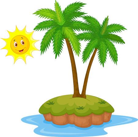 cartoon palm tree: Tropical island cartoon