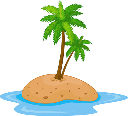 barren land: Tropical island cartoon