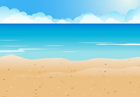 Cartoon Beach and blue sea background