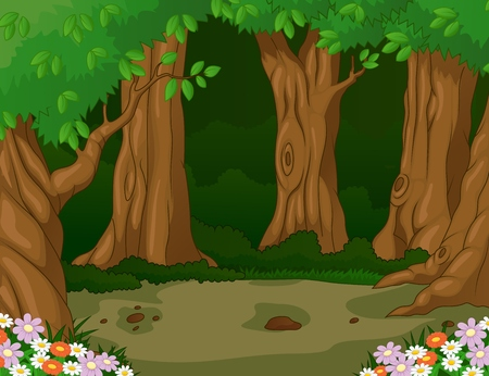 Forest cartoon background  Vector