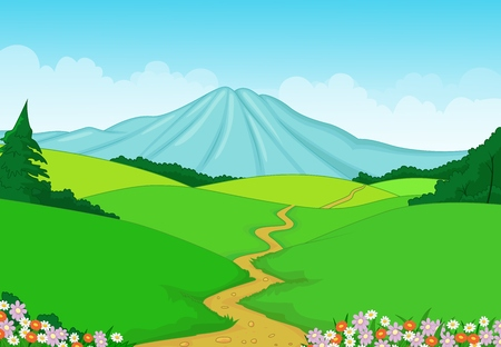 Beautiful green landscape cartoon background  Illustration