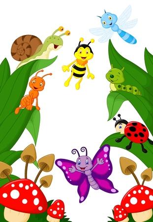 comic wasp: Small animals cartoon  Illustration