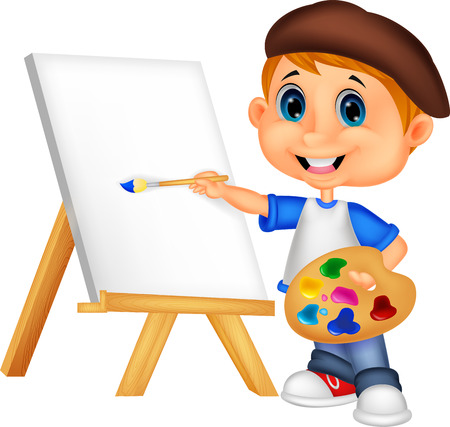 junior: Cartoon boy painting  Illustration