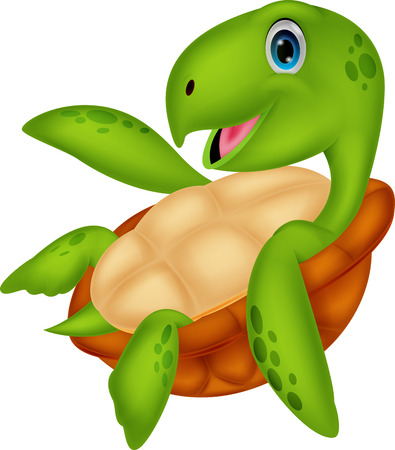 Cute sea turtle cartoon  Vector