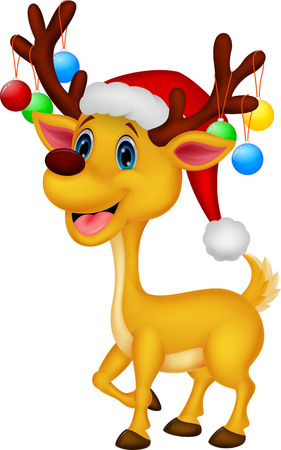 santa moose: Cute deer cartoon wearing red hat