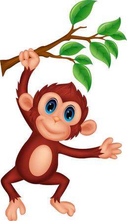 jungla caricatura: Lindo colgante de dibujos animados mono