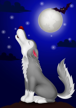 coyote: Wolf cartoon howling  Illustration